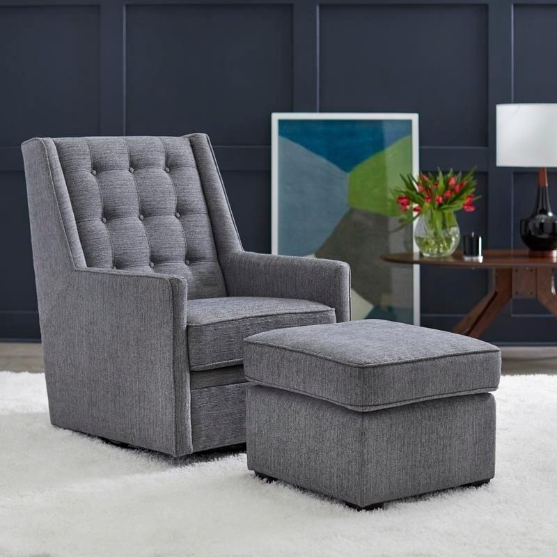 Angelo:HOME Lillian Rocking/Swivel Chair And Ottoman Set