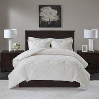 3 Piece Madison Park Nova Ivory Embroidered Medallion Ultra Plush King/California King Size Comforter Mini Set (As Is Item)