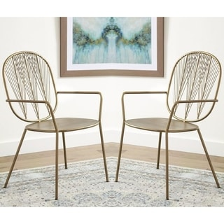 Modern Wheat Design Gold-tone Iron Accent Arm Chairs (Set of 2)