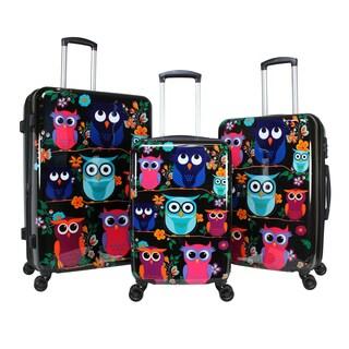 World Traveler Owls 3-Piece Hardside Spinner Luggage Set