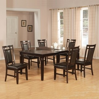 Home Source Dupree 5 Piece Dining Set with Butterfly Leaf Dining Table and Set of 4 Black Faux Leather Chairs, Espresso Finish