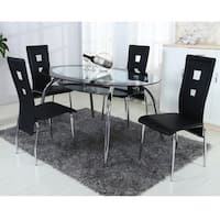 Home Source Square Cutout Dining Table Set with 1 Glass Oval Table and 4 Chrome Chairs