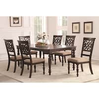 Home Source Lilith Walnut 7 Piece Dining Set with 1 Table and 6 Chairs