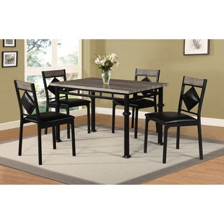 Home Source 5 Piece Mixed Media Dining Set, Light Wood Grain Rectangle Table with 4 Matching Chairs