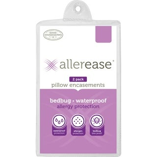 Allerease Waterproof Bedbug & Allergy Protection Pillow Protector, King, 2-Pack