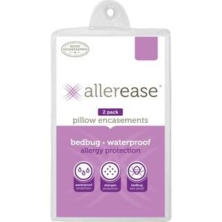 Allerease Waterproof Bedbug & Allergy Protection Pillow Protector, Jumbo, 2-Pack