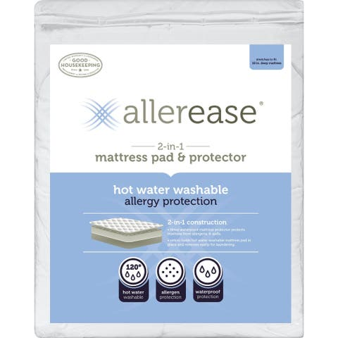 AllerEase 2-in-1 Mattress Pad & Protector, Hot Water Washable - White
