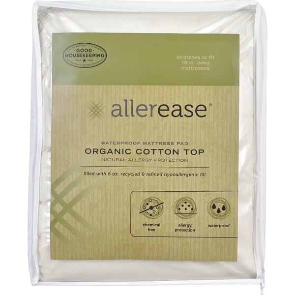 AllerEase Naturals, Waterproof Mattress Pad, Organic Cotton Top - White. Opens flyout.