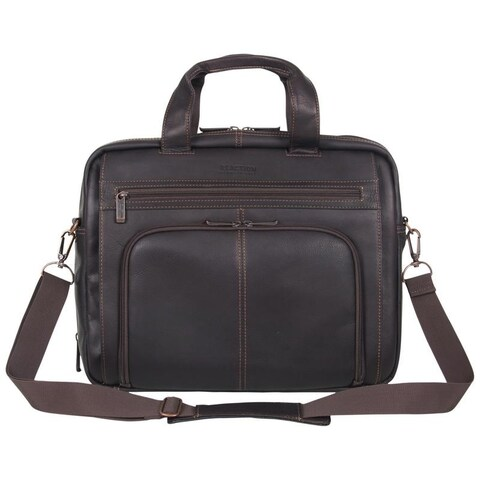 Kenneth Cole Reaction Genuine Colombian Leather Double Compartment Top Zip Expandable 15.6in Laptop Business Portfolio