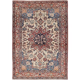 eCarpetGallery Hand-knotted Isfahan Cream Wool Rug - 3'5 x 4'11