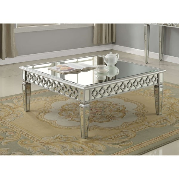 Best Master Furniture Distressed Silver Mirrored Glass/Wood Square Coffee  Table