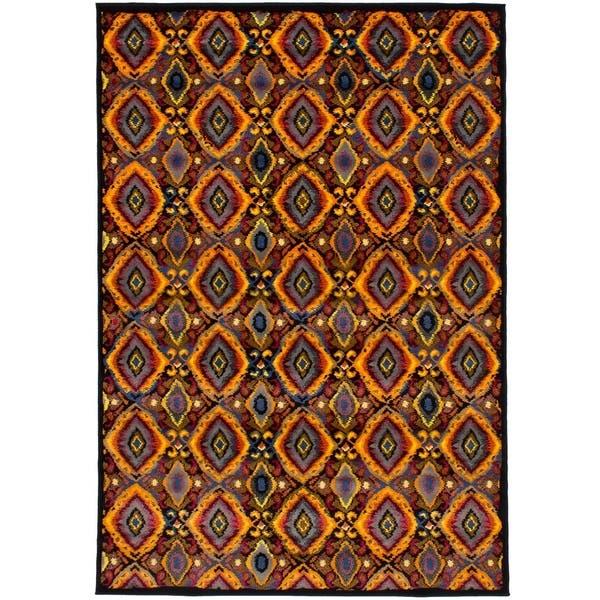 Shop Ecarpetgallery Chroma Black Orange Rug 6 7 X 9 6