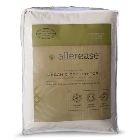 AllerEase Organic Cotton Top Mattress Pad - White