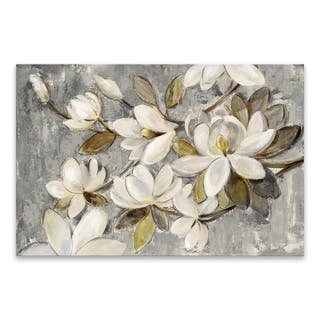 """""""Magnolia Simplicity Neutral Gray"""" Hand Embellished Canvas - 36W x 24H x 1.25D - Multi-color"""