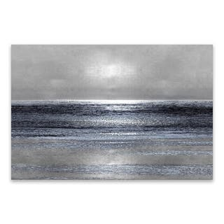 """""""Silver Seascape III"""" Hand Embellished Canvas - 36W x 24H x 1.5D - Multi-color"""