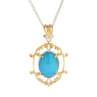 Michael Valitutti Palladium Silver Sleeping Beauty Turquoise Pendant w/ Rolo Chain - Blue