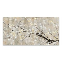 """Silver Apple Bloom I "" Hand Embellished Canvas - 40W x 20H x 1.25D"