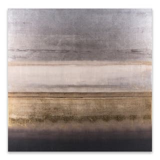 """Gray Cream Gold "" Embellished Canvas - 27W x 27H x 1.5D - Multi-color"