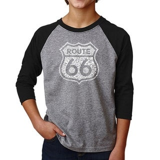 LA Pop Art Boy's Raglan Baseball Word Art T-shirt - Get Your Kicks on Route 66