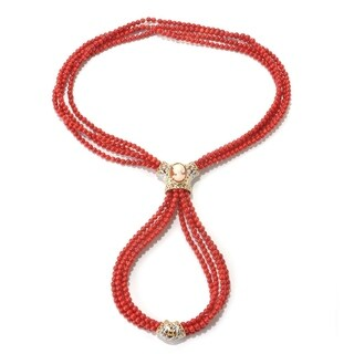 Michael Valitutti Palladium Silver Red Coral, Shell Cameo and Ruby Four-Strand Beaded Necklace