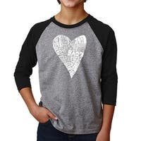 LA Pop Art Boy's Raglan Baseball Word Art T-shirt - Lots of Love