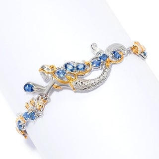 Michael Valitutti Palladium Silver Mermaid and Sea Ceylon Blue Sapphire Life Bracelet w/ Extender