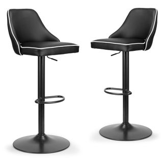 Set of 2 Alston Black Adjustable Height Swivel Bar Stool White Piping