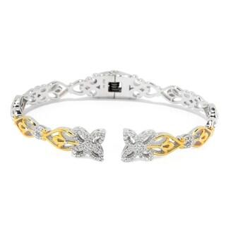 Michael Valitutti Palladium Silver Flower Diamond Kissing Cuff Bracelet - White