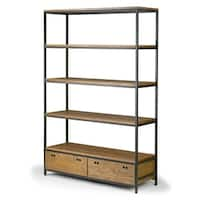 Alta Brown Pine Wood Display Shelf Etagere Bookcase with Drawers