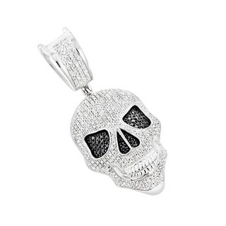 White and Black Diamond Iced Out Skull Pendant in 10K Gold 0.8ctw & Chain Necklace by Luxurman