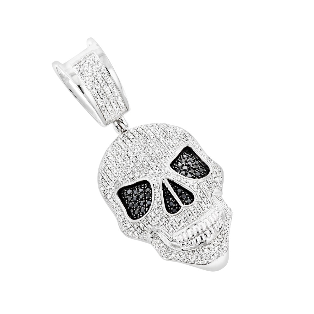Shop White And Black Diamond Iced Out Skull Pendant In 10k Gold