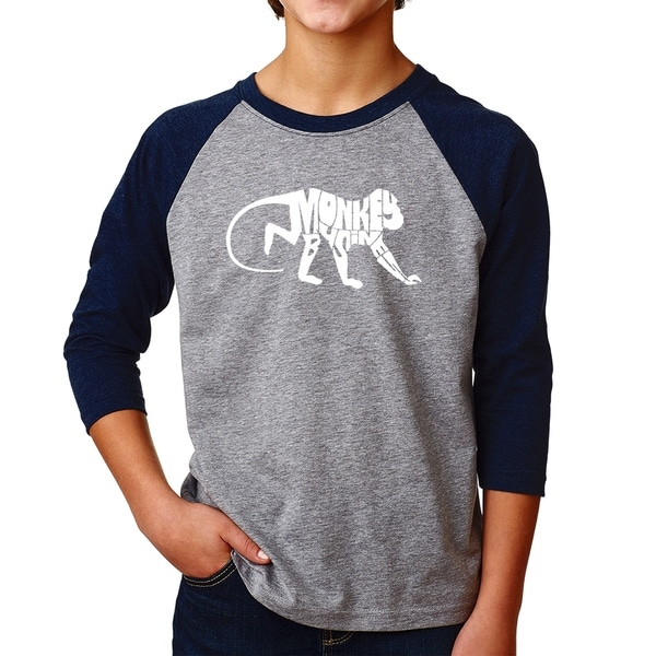 LA Pop Art Boy's Raglan Baseball Word Art T-shirt - Monkey Business