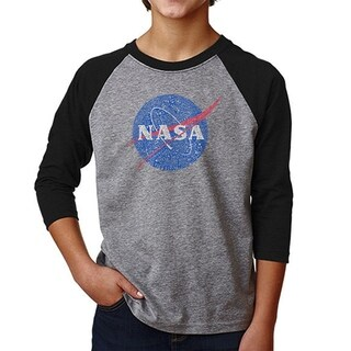 LA Pop Art Boy's Raglan Baseball Word Art T-shirt - NASA's Most Notable Missions