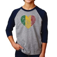 LA Pop Art Boy's Raglan Baseball Word Art T-shirt - One Love Heart