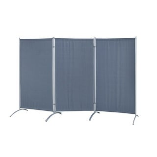Galaxy Indoor 3-panel Room Divider (Grey) with Metal Tubing Frame and Water Resistant Fabric