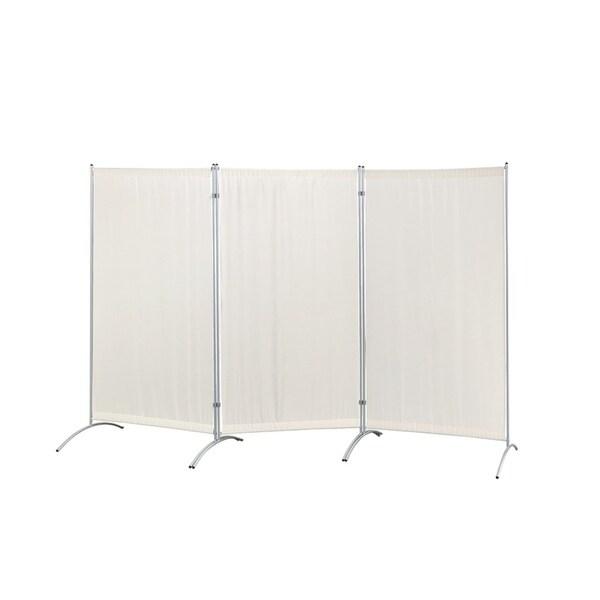 Shop Galaxy Indoor 3 Panel Room Divider Beige With Metal Tubing