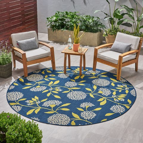 Viola Outdoor Floral Area Rug by Christopher Knight Home