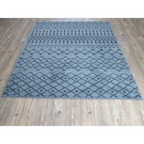Silver Grey BLACK Large Vintage Faux Wool Area Rug - 7'10 x 10'6
