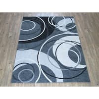 Silver Grey BLACK Large Abstract Faux Wool Area Rug - 7'10 x 10'6