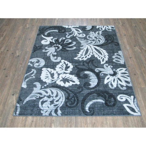 Silver Grey BLACK Large Casual Faux Wool Area Rug - 7'10 x 10'6