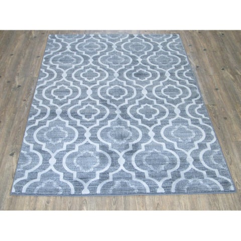Silver Grey BLACK Large Farmhouse Faux Wool Area Rug - 7'10 x 10'6
