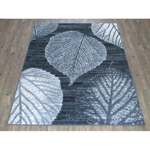 Silver/Grey/Black Faux Wool Area Rug - 7'10 x 10'6