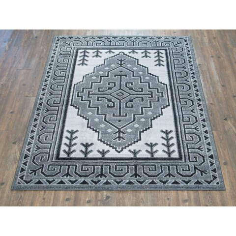 Silver/Grey Large Contemporary Geometric Area Rug - 7'10 x 10'6