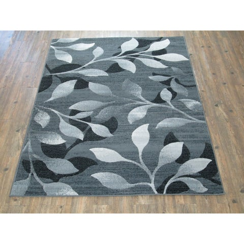 Silver Grey BLACK Large Modern Faux Wool Area Rug - 7'10 x 10'6