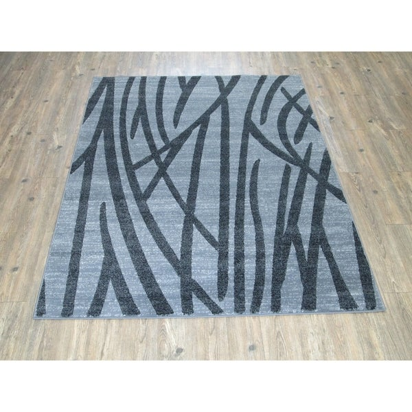 Shop Audrey Gray Mid Century Modern Area Rug: Shop Silver Grey BLACK Large Mid-Century Modern Faux Wool
