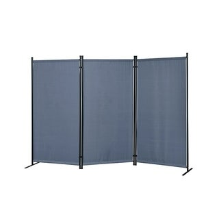 Galaxy Indoor/Outdoor 3-panel Room Divider (Grey) with Heavy Duty Metal Tubing Frame and Water Resistant Fabric
