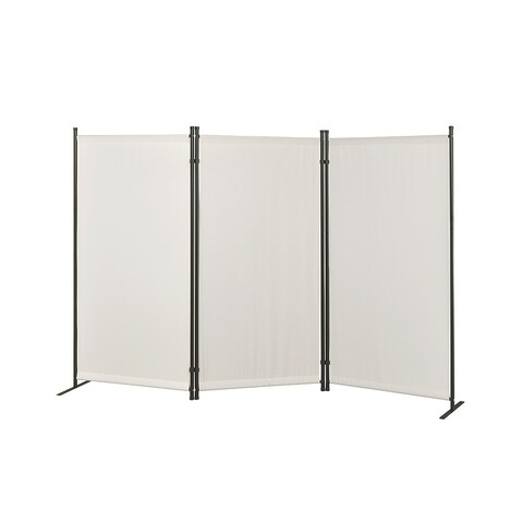 Galaxy Indoor/Outdoor 3-panel Room Divider (Beige) with Heavy Metal tubing Frame and Water Resistant Fabric