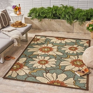 Melody Indoor/ Outdoor Floral Area Rug by Christopher Knight Home - 5 x 8