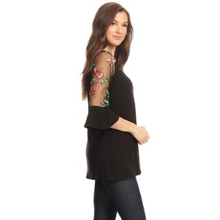 High Secret Women's Relax Fit Mesh Sleeves Floral Embroidery Tunic Top