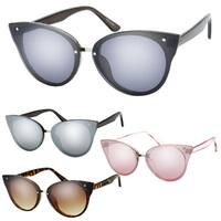 """Cheryl"" UV400 Retro Fashion Flat Frame Horn Rimmed Sunglasses"
